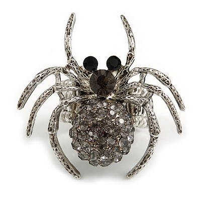 Stunning Grey Crystal Spider Stretch Cocktail Ring (Burn Silver Metal)