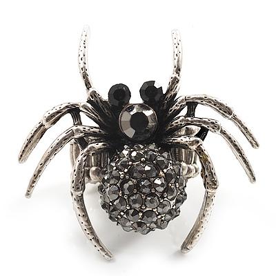 Stunning Grey Crystal Spider Stretch Cocktail Ring (Burn Silver Metal)