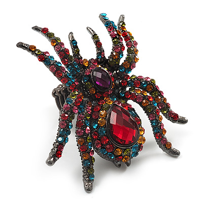 Oversized Multicoloured Crystal Spider Stretch Cocktail Ring (Silver Tone Finish)