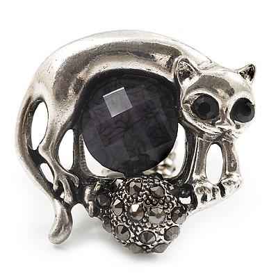 Burn Silver Black Diamante Cat & Mouse Stretch Ring