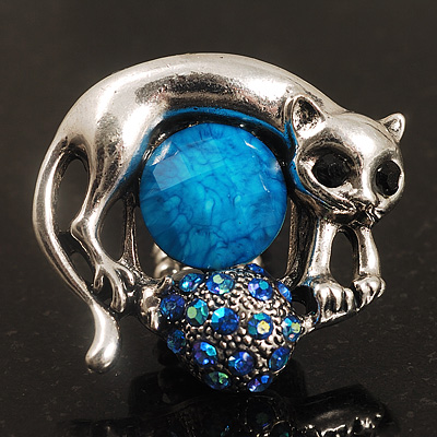 Burn Silver Light Blue Diamante Cat & Mouse Stretch Ring