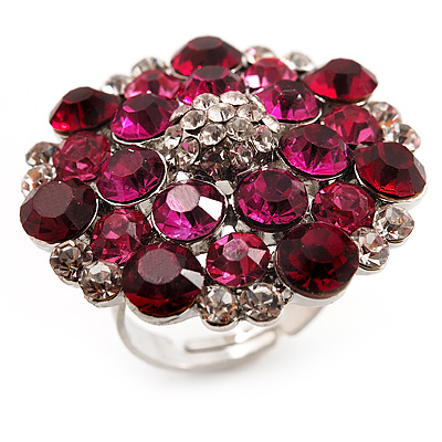 Silver Tone Fuchsia/ Pink Diamante Cocktail Ring