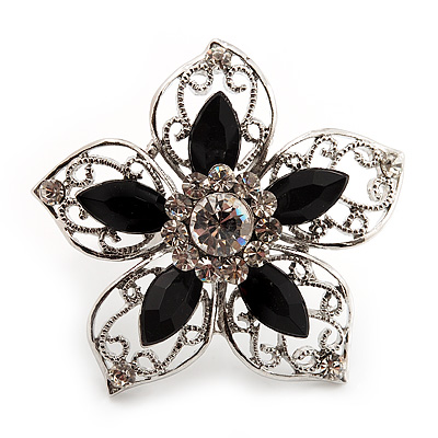 Silver Tone Filigree Black Diamante Flower Cocktail Ring - 5cm Diameter - main view