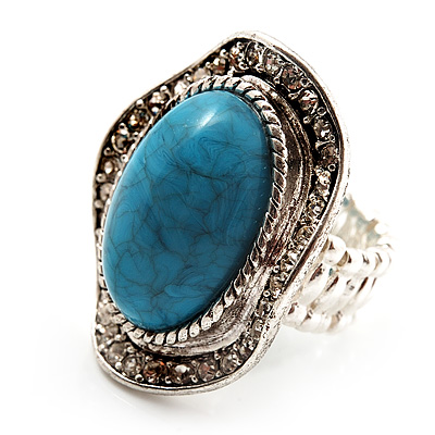 Oval Crystal Turquoise Coloured Acrylic Bead Flex Ring (Silver Tone Metal) Size - 7/9 - main view