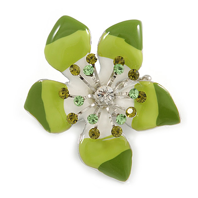 Stunning Green Enamel Crystal Flower Flex Ring (Silver Tone Metal) - Size 7/8