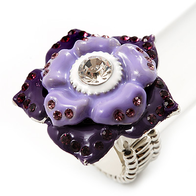 Purple Enamel Crystal Layered Flex Ring (Silver Metal Finish) Size - 7/8