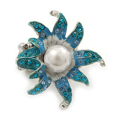 Aqua/ Light Blue Enamel, Crystal, Simulated Pearl 'Calla Lily' Flex Ring In Rhodium Plating - Size 7/8 - main view