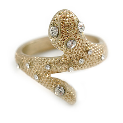 Matt Gold Textured Crystal Snake Ring