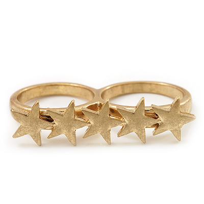 Gold Plated Double Finger 'Five Star' Ring - Size 7&8 - main view