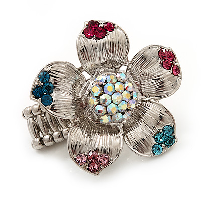 Multicoloured Diamante Daisy Flex Ring In Rhodium Plated Metal - main view