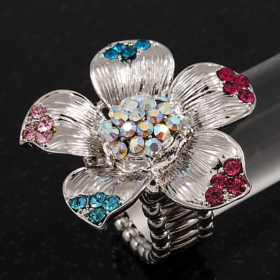 Multicoloured Diamante Daisy Flex Ring In Rhodium Plated Metal