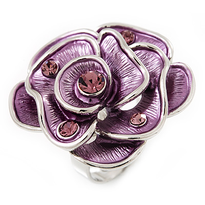 Lavender Enamel Crystal Rose Ring In Rhodium Plated Metal