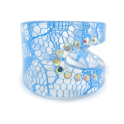 Wide Resin Diamante Blue 'Lace' Band Ring