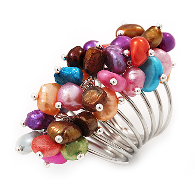 Wide Chunky Multicoloured Freshwater Pearl Ring (Silver Plated Metal) - main view