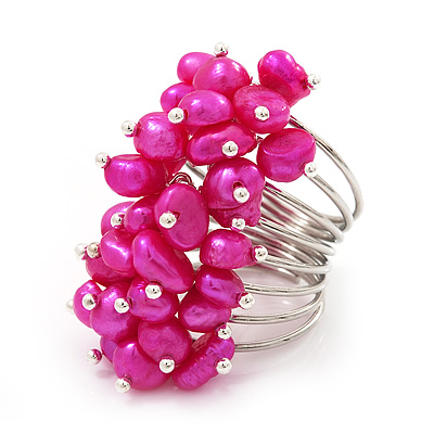 Wide Chunky Fuchsia Freshwater Pearl Ring (Silver Plated Metal)