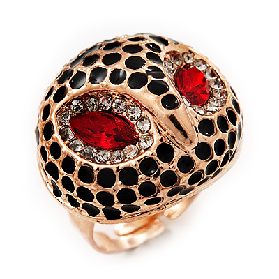 Gold Plated Diamante Owl Ring with Red Eyes - Adjustable - main view
