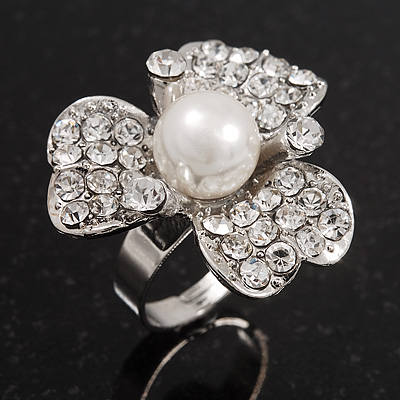 3 Petal Simulated Pearl Crystal Daisy Cocktail Ring In Rhodium Plating - 3cm Diameter - main view