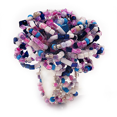 Large Multicoloured Glass Bead Flower Stretch Ring (White, Blue & Pink) - main view