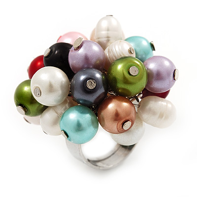 Freshwater Pearl & Bead Cluster Silver Tone Ring (Multicoloured) - Adjustable - main view