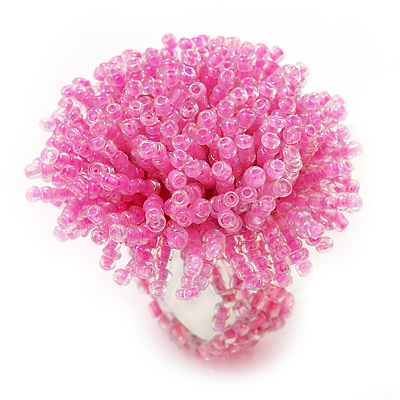 Light Pink Glass Bead Flower Stretch Ring - main view