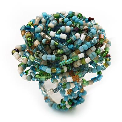 Multicoloured Glass Bead Flower Stretch Ring (Light Blue, Green & White)