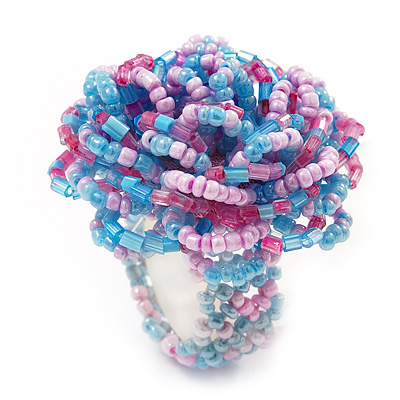 Large Multicoloured Glass Bead Flower Stretch Ring (Light Blue & Pink) - main view