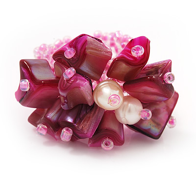 Pink Shell Chip & Freshwater Pearl Cluster Flex Ring - main view