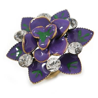 Purple/Green Crystal Enamel Cocktail Ring (Bronze Tone) - 3.5cm Diameter