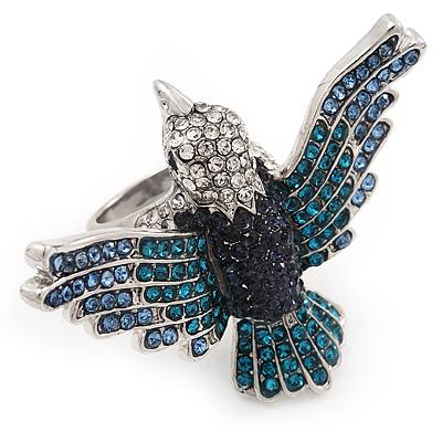 Bold Crystal Bird Ring In Rhodium Plated Metal (Blue)