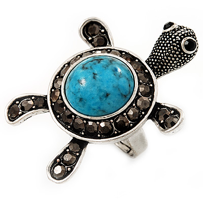 Turquoise Diamante Turtle Ring In Burn Silver Metal