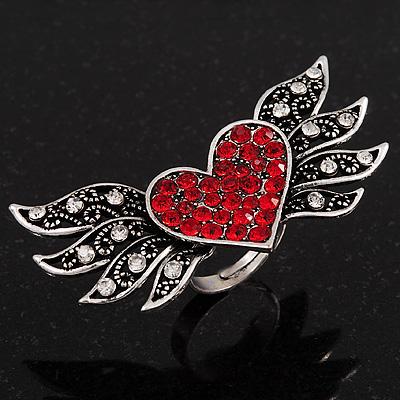 'Wings Of Love' Diamante Ring In Burn Silver Metal - Adjustable