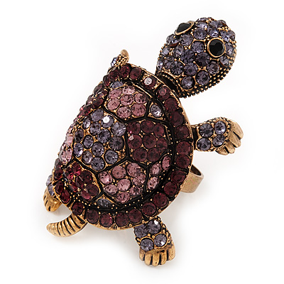 Large Purple Crystal Turtle Ring In Burn Gold Metal - Adjustable - main view