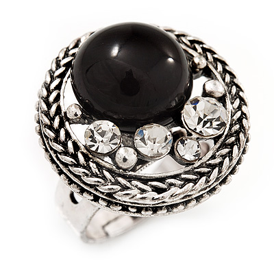 Open Button Shaped Diamante Fancy Ring In Burn Silver