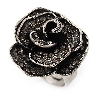 Vintage Diamante Rose Ring In Burn Silver Finish - 2cm Diameter