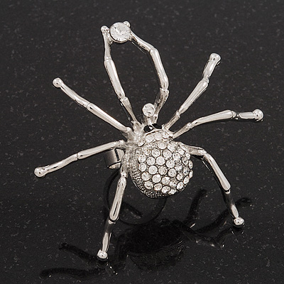Large Clear Diamante 'Spider' Ring In Silver Tone Metal - 6.5cm Diameter - Adjustable 7/9 Size