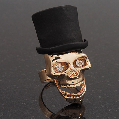 Gold Plated 'Black Hat Skull' Ring - Adjustable (Size 7/8) - 4cm Length - main view