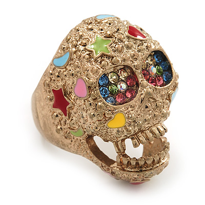 Vintage Textured Multicoloured 'Skull' Ring In Matte Gold Metal