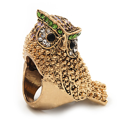 Vintage Chunky Textured 'Owl' Ring In Antique Gold Metal (heavy)