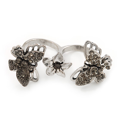 Crystal Butterfly Double Finger Ring In Burn Silver Metal - Flex (Size 7/8)