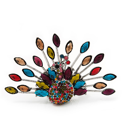 Stunning Multicoloured Crystal 'Peacock' Flex Ring In Silver Metal - 7.5cm Length (Size 7/8)