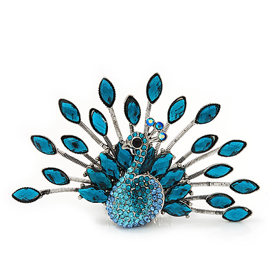 Stunning Turquoise Coloured Swarovski Crystal 'Peacock' Flex Ring In Silver Metal - 7.5cm Length (Size 7/8)