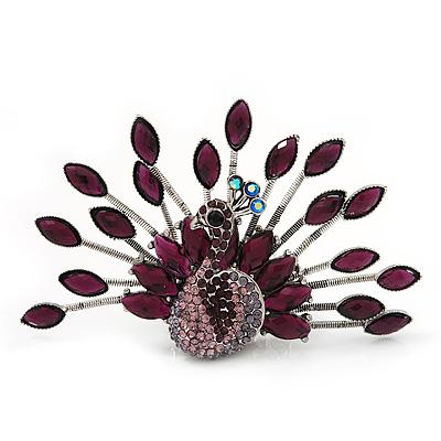 Stunning Deep Purple Swarovski Crystal 'Peacock' Flex Ring In Silver Metal - 7.5cm Length (Size 7/8)