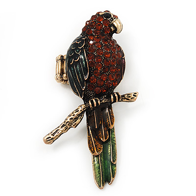 Exotic Green/ Amber Coloured Crystal 'Parrot' Flex Ring In Burnt Gold Plating - 7.5cm Length (Size 7/8)