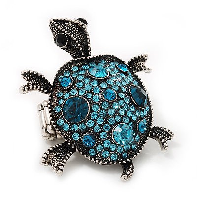 Turquoise Coloured Crystal 'Turtle' Flex Ring In Burn Silver Metal - 5.5cm Length - (Size 7/9)