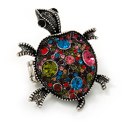 Multicoloured Crystal 'Turtle' Flex Ring In Burn Silver Metal - 5.5cm Length - (Size 7/9)
