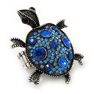 Blue Crystal 'Turtle' Flex Ring In Burn Silver Metal - 5.5cm Length - (Size 7/9)