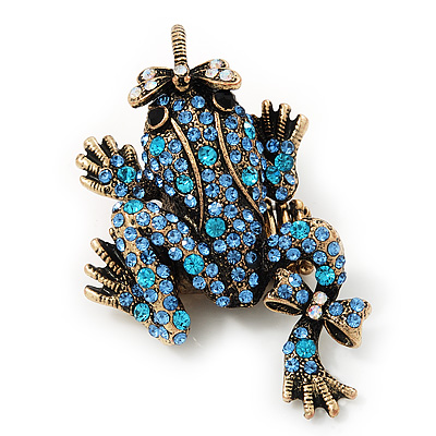 Sky Blue Swarovski Crystal 'Frog & Dragonfly' Flex Ring In Burnt Gold Plating - 7cm Length (Size 7/8)