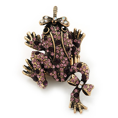 Purple Swarovski Crystal 'Frog & Dragonfly' Flex Ring In Burnt Gold Plating - 7cm Length (Size 7/8)