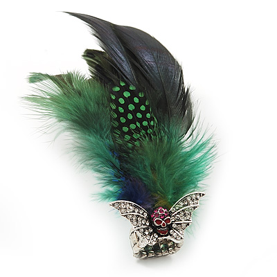 Oversized Green/Blue Feather 'Flying Skull' Stretch Ring In Silver Plating - Adjustable - 14cm Length