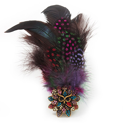 Oversized Multicoloured Feather 'Owl' Stretch Ring In Gold Plating - Adjustable - 13cm Length